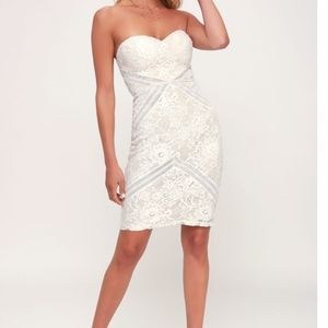 White and Nude Strapless Lace Bodycon Dress